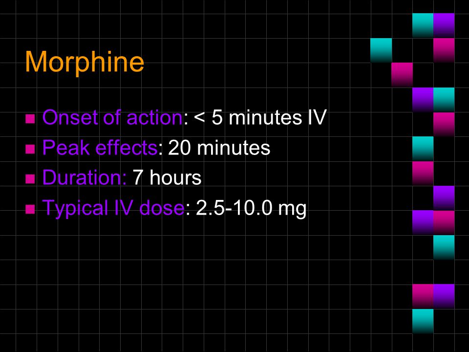 Morphine Onset of action: < 5 minutes IV Peak effects: 20 minutes