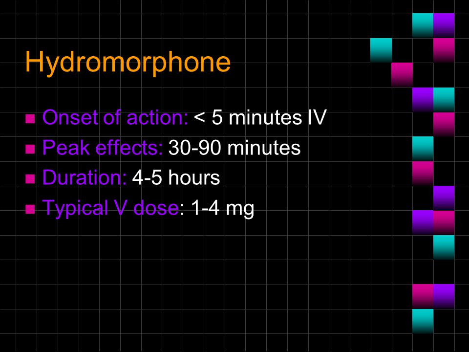 Hydromorphone Onset of action: < 5 minutes IV