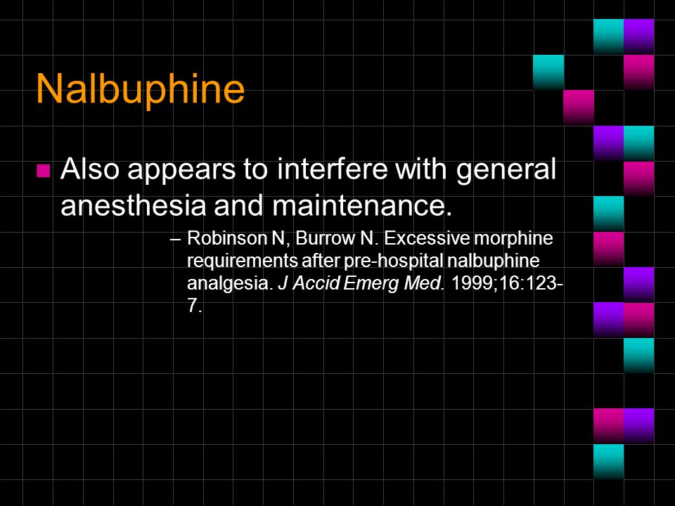 Nalbuphine Also appears to interfere with general anesthesia and maintenance.