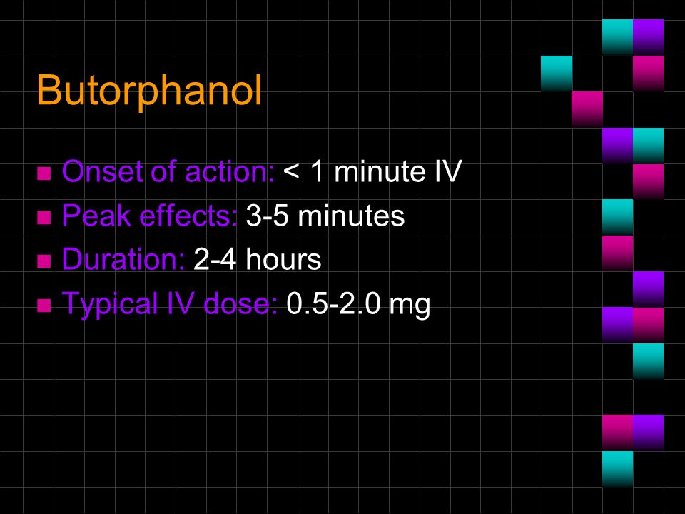 Butorphanol Onset of action: < 1 minute IV