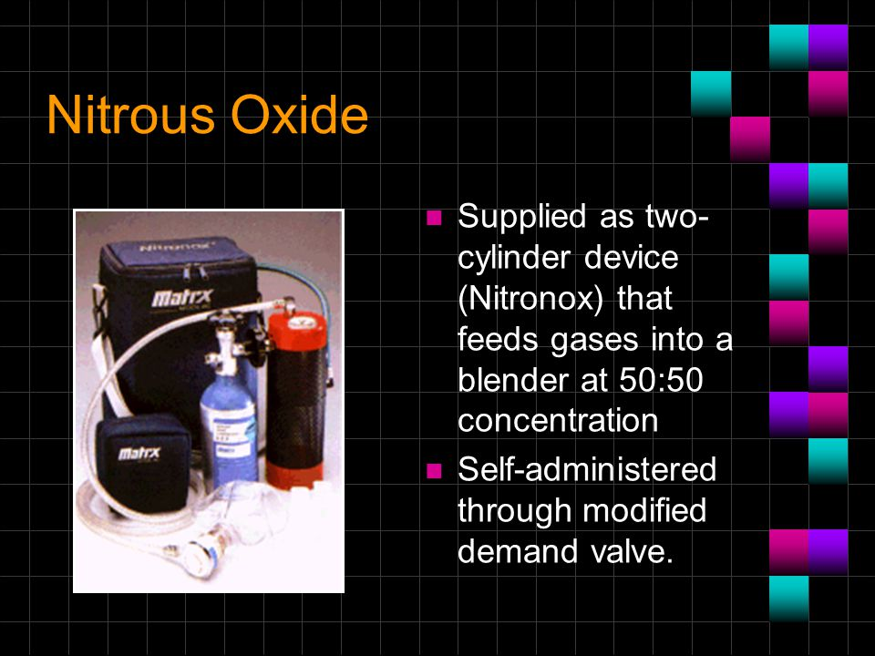 Nitrous Oxide Supplied as two-cylinder device (Nitronox) that feeds gases into a blender at 50:50 concentration.