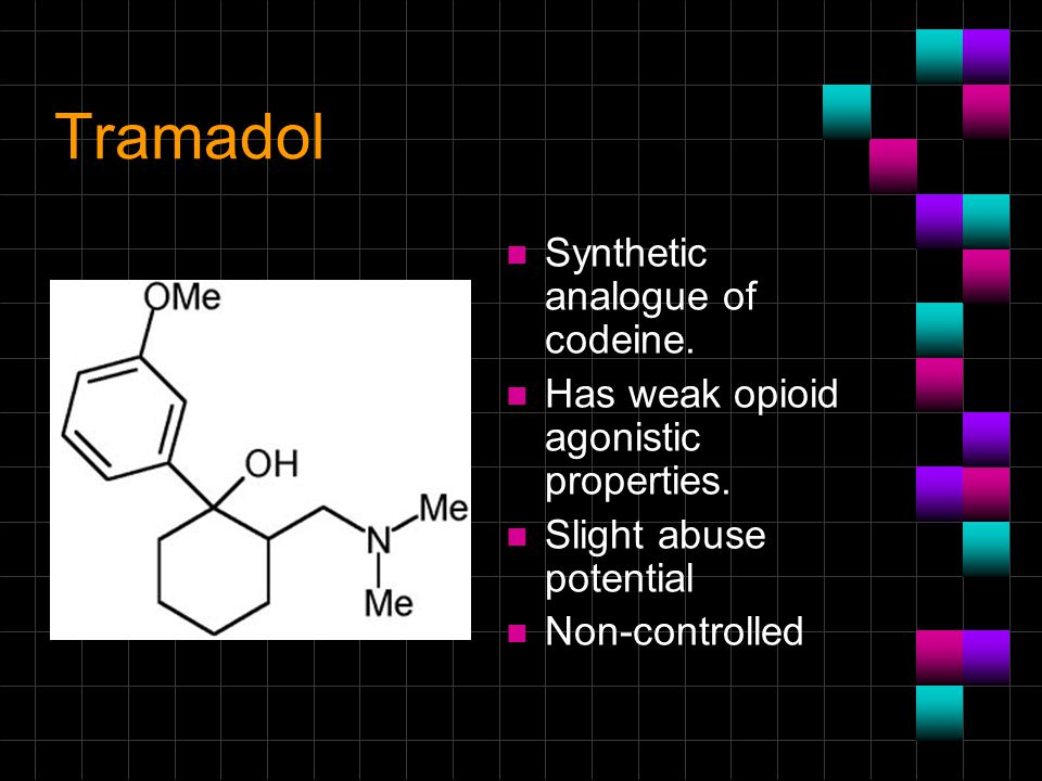 Tramadol Synthetic analogue of codeine.