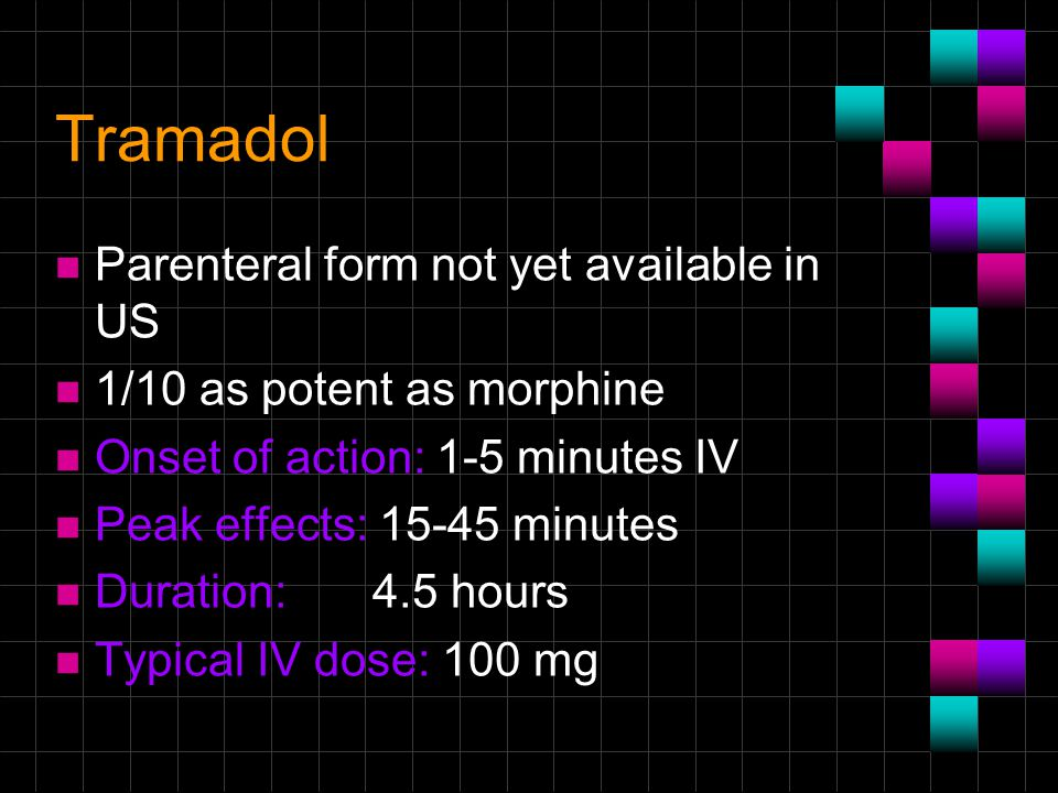 Tramadol Parenteral form not yet available in US