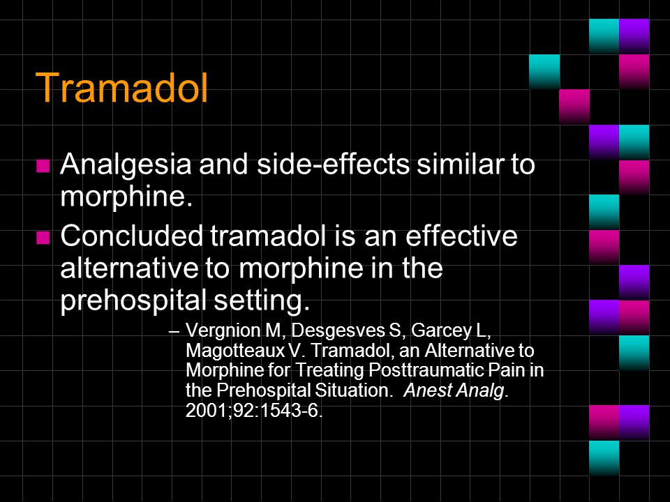 Tramadol Analgesia and side-effects similar to morphine.