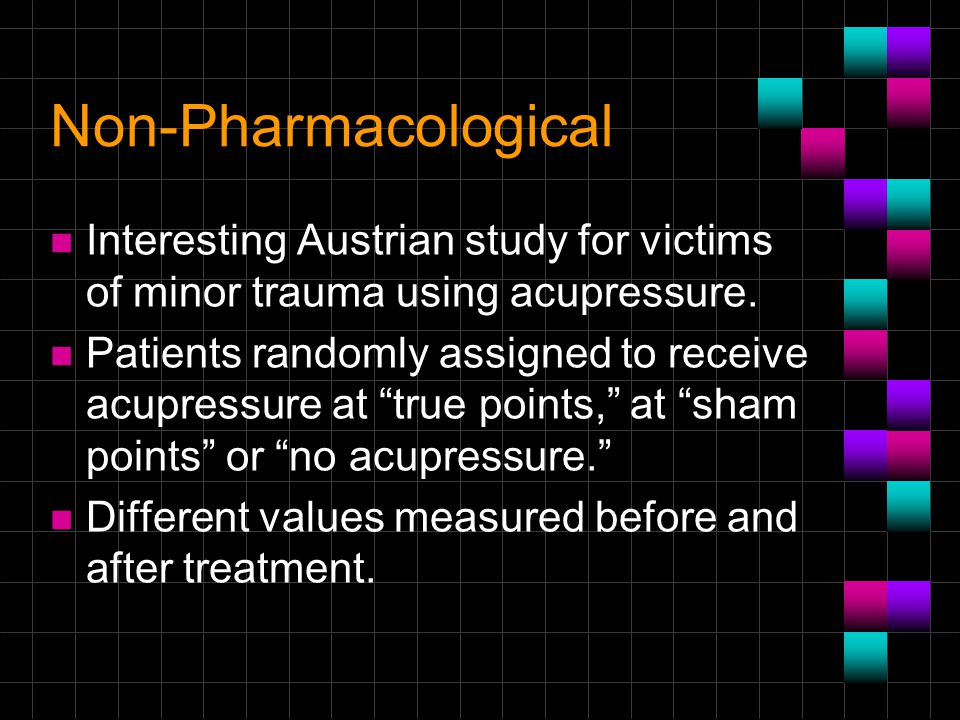 Non-Pharmacological Interesting Austrian study for victims of minor trauma using acupressure.