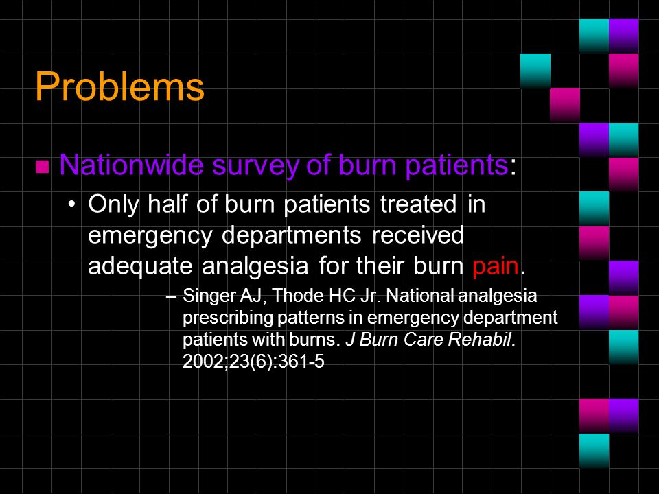 Problems Nationwide survey of burn patients: