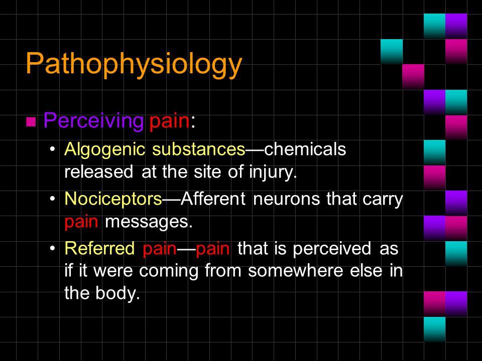 Pathophysiology Perceiving pain:
