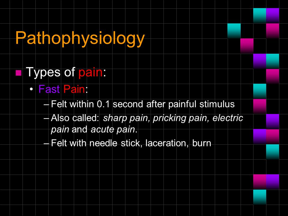 Pathophysiology Types of pain: Fast Pain: