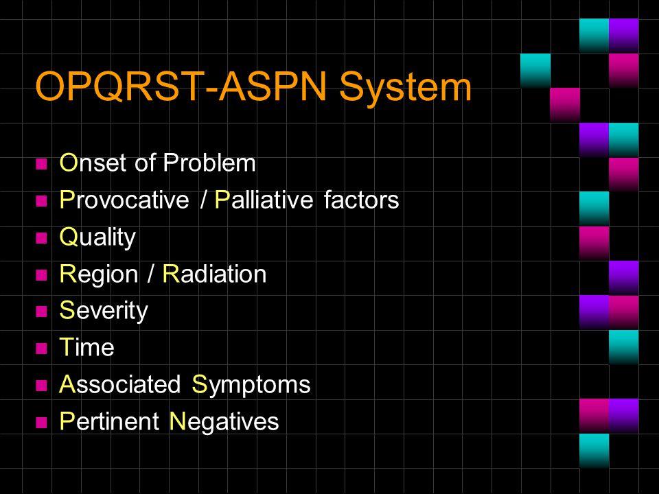 OPQRST-ASPN System Onset of Problem Provocative / Palliative factors