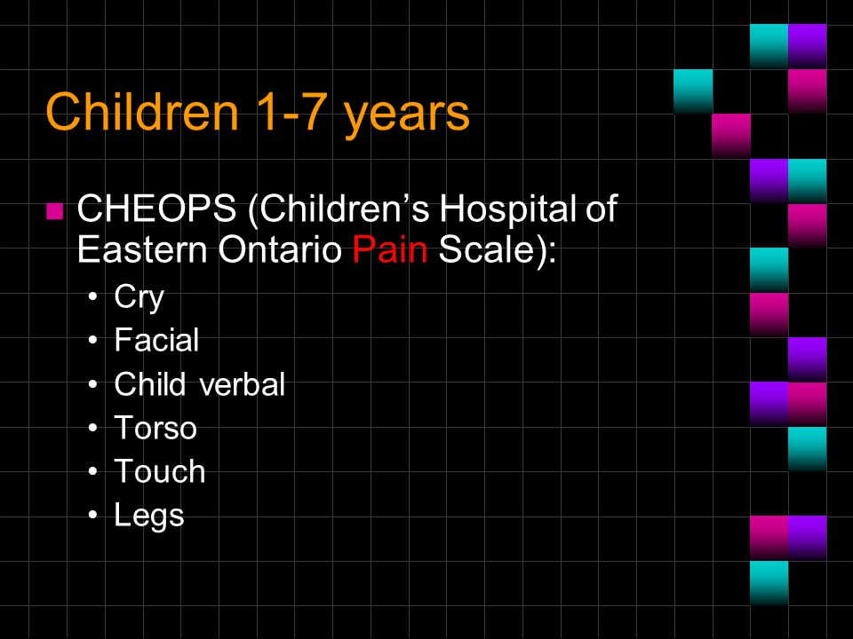 Children 1-7 years CHEOPS (Children's Hospital of Eastern Ontario Pain Scale): Cry. Facial. Child verbal.