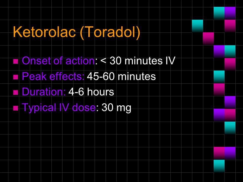 Ketorolac (Toradol) Onset of action: < 30 minutes IV