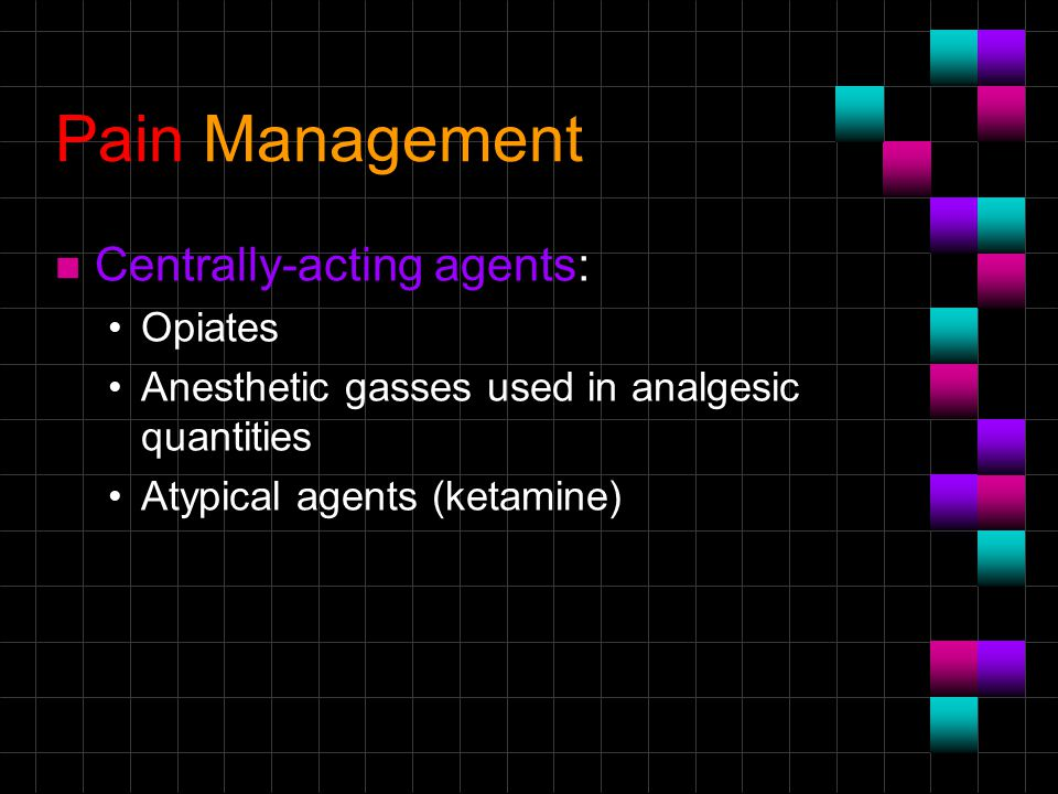 Pain Management Centrally-acting agents: Opiates