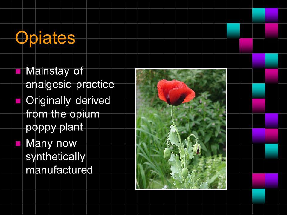Opiates Mainstay of analgesic practice