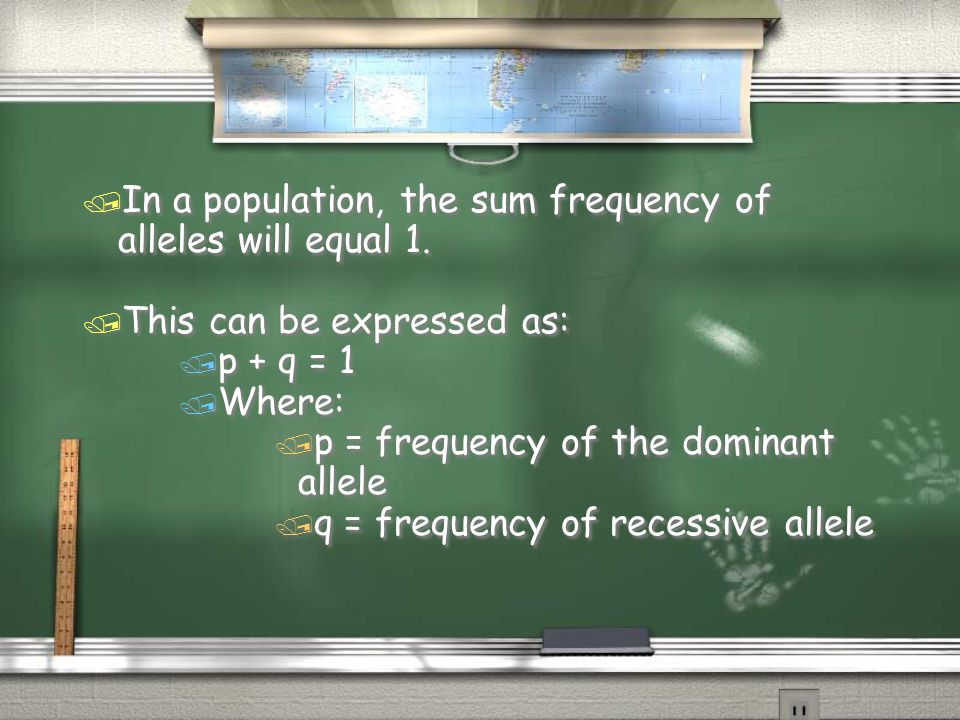 In a population, the sum frequency of alleles will equal 1.