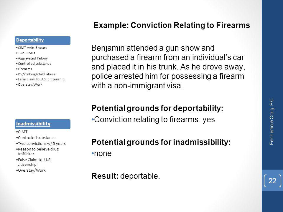 Example: Conviction Relating to Firearms