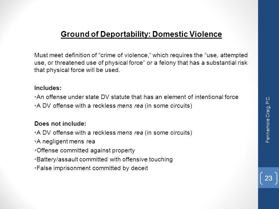 Ground of Deportability: Domestic Violence