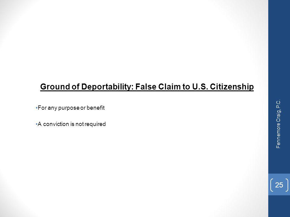 Ground of Deportability: False Claim to U.S. Citizenship