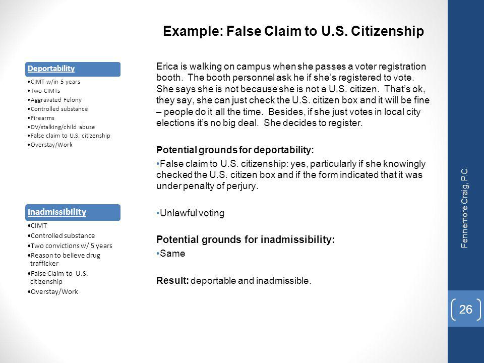 Example: False Claim to U.S. Citizenship