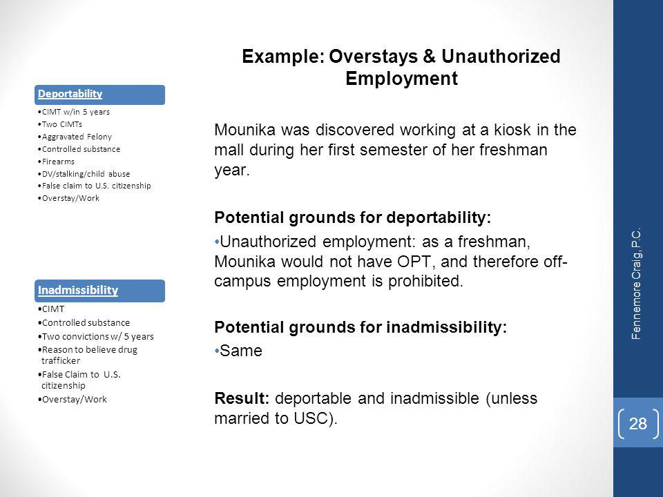 Example: Overstays & Unauthorized Employment