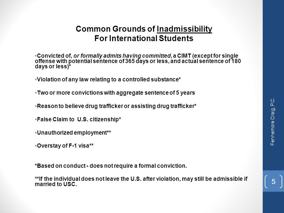 Common Grounds of Inadmissibility For International Students