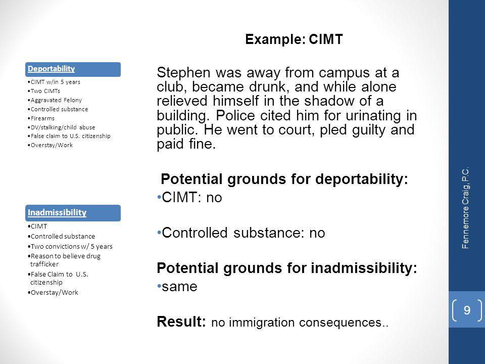 Potential grounds for deportability: CIMT: no Controlled substance: no
