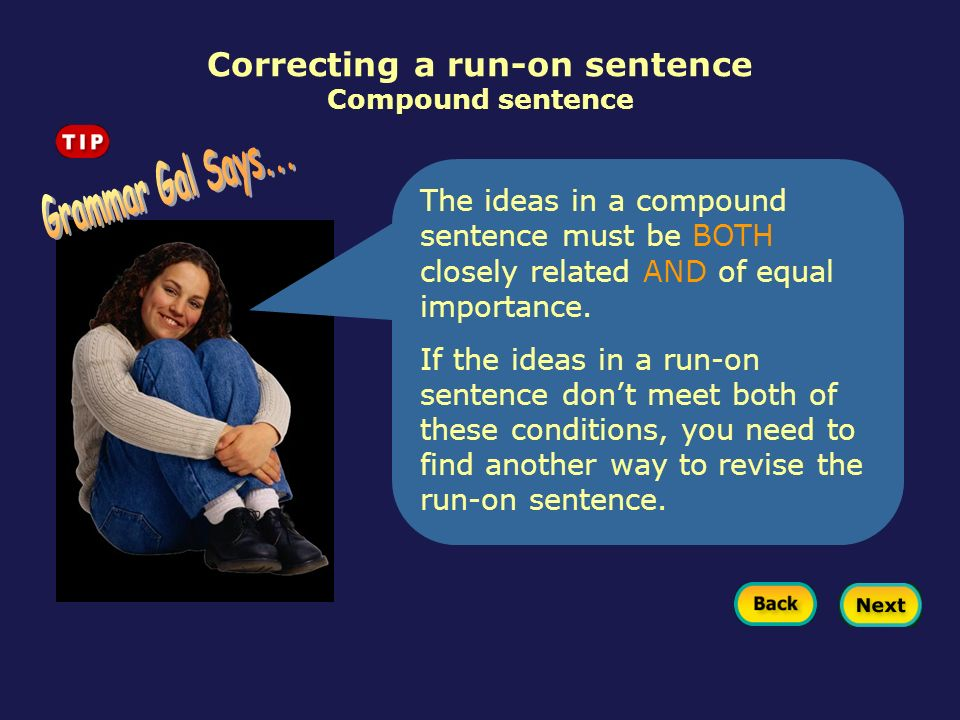 Correcting a run-on sentence