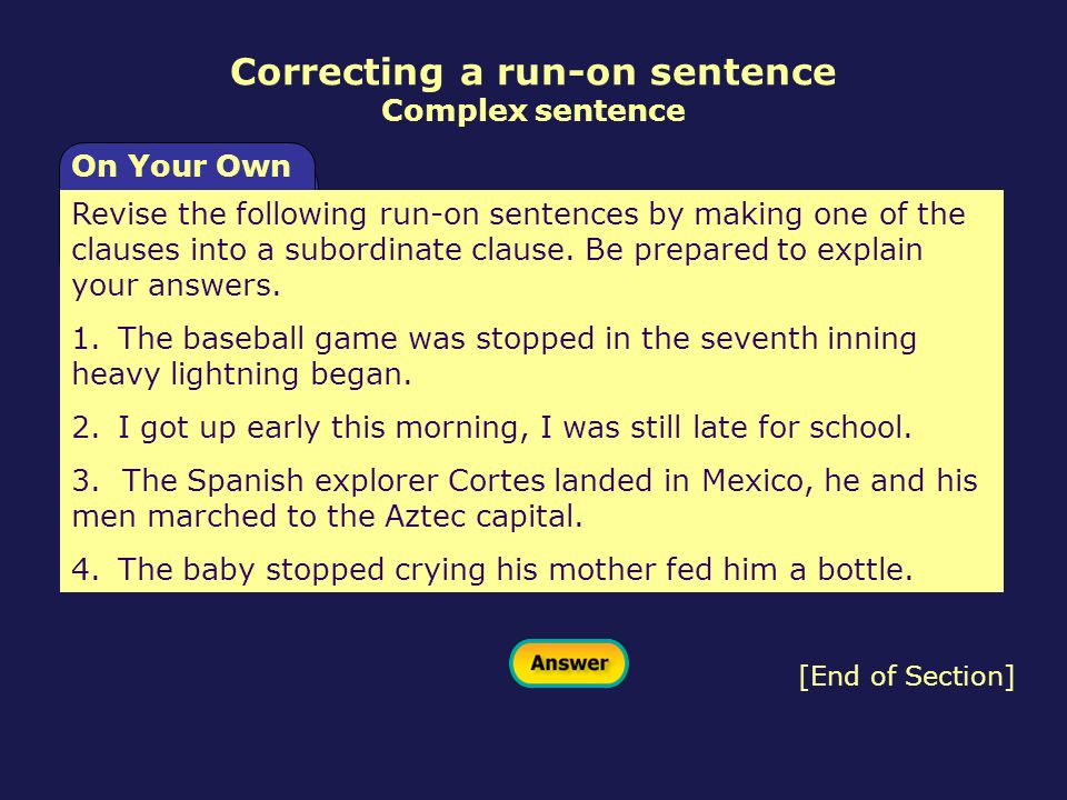 Correcting a run-on sentence