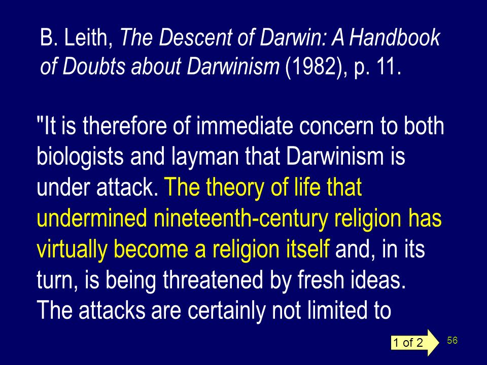 B. Leith, The Descent of Darwin: A Handbook of Doubts about Darwinism (1982), p. 11.