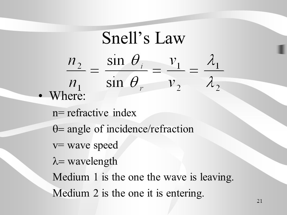 Snell's Law Where: n= refractive index