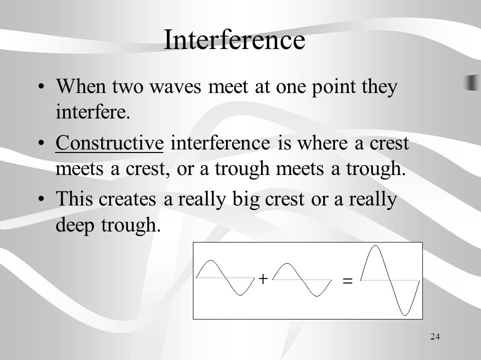 Interference When two waves meet at one point they interfere.