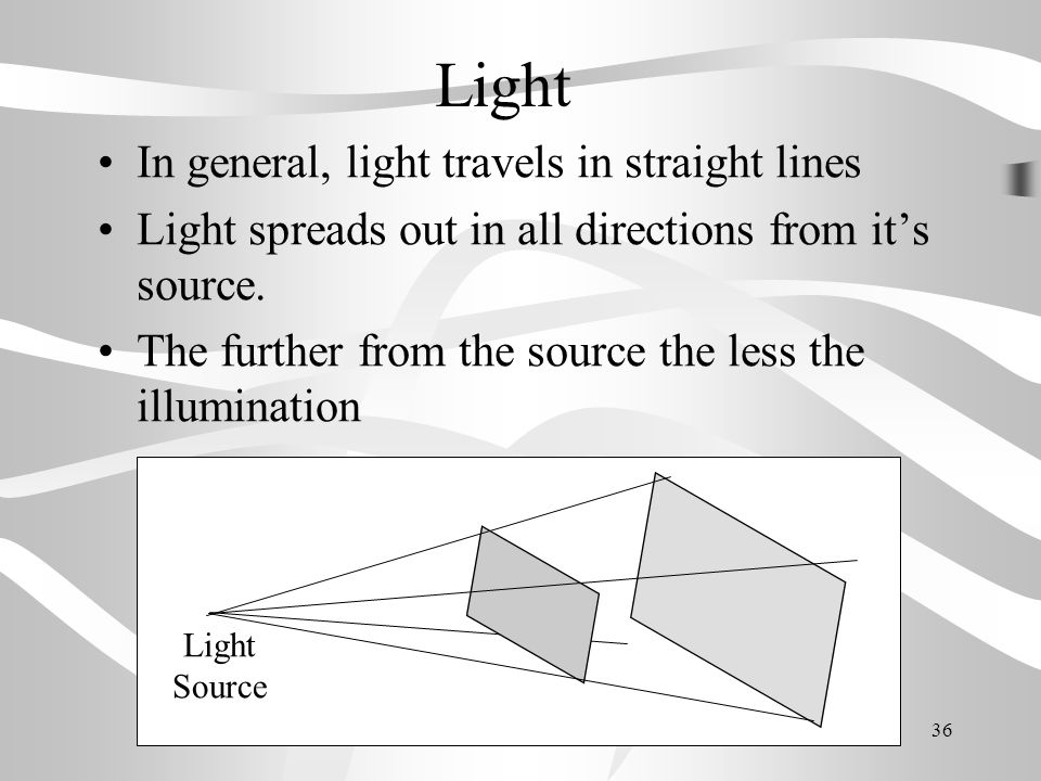 Light In general, light travels in straight lines