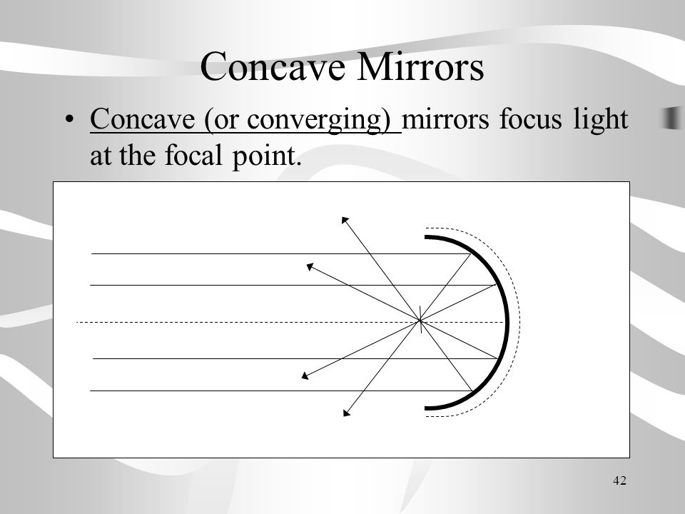 Concave Mirrors Concave (or converging) mirrors focus light at the focal point.
