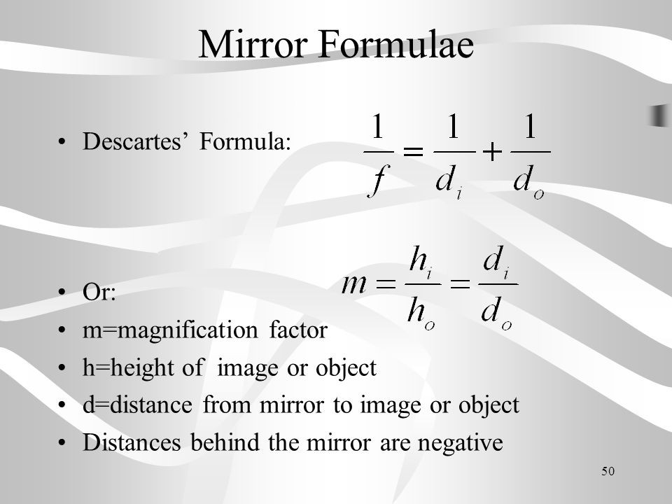 Mirror Formulae Descartes' Formula: Or: m=magnification factor