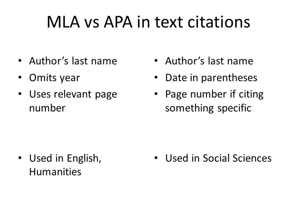 MLA vs APA in text citations