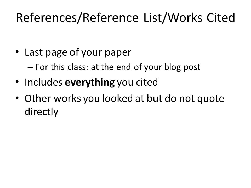 References/Reference List/Works Cited