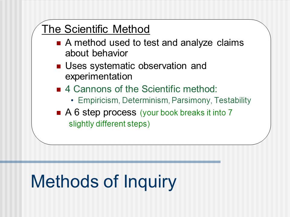 Methods of Inquiry The Scientific Method