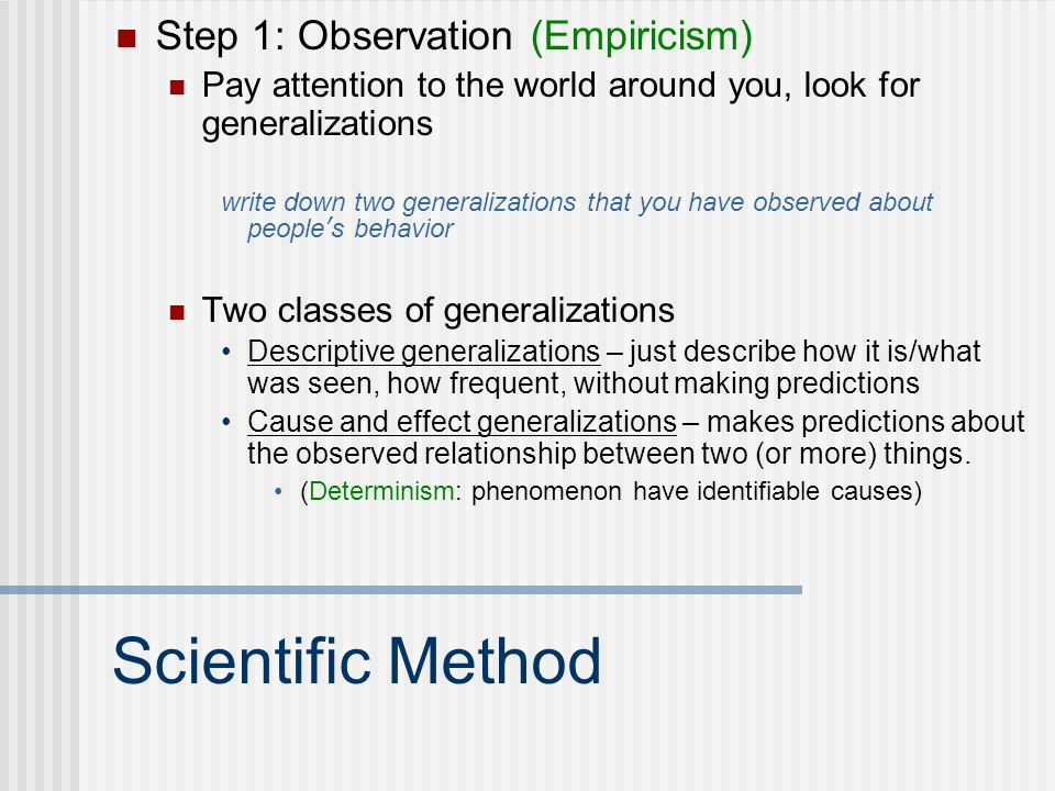 Scientific Method Step 1: Observation (Empiricism)