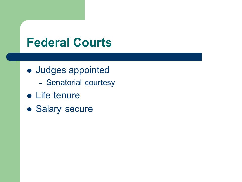 Federal Courts Judges appointed Life tenure Salary secure