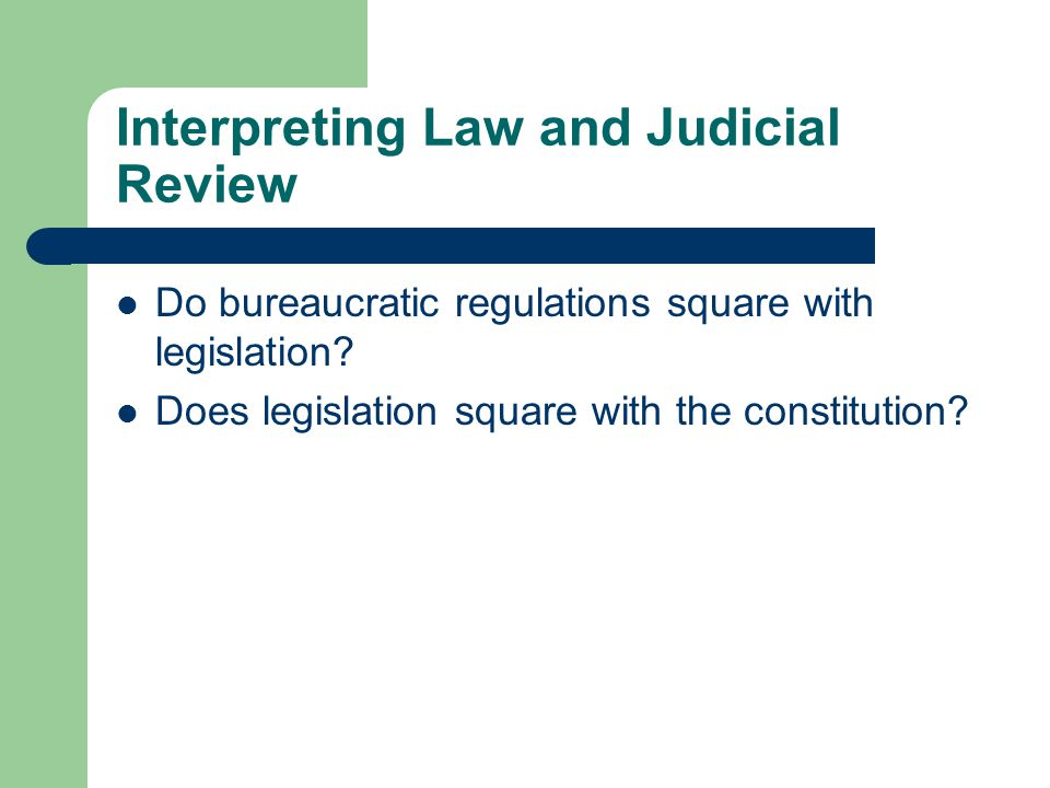 Interpreting Law and Judicial Review