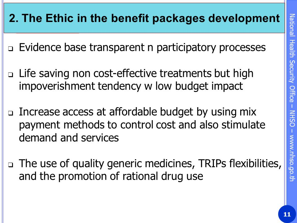 2. The Ethic in the benefit packages development