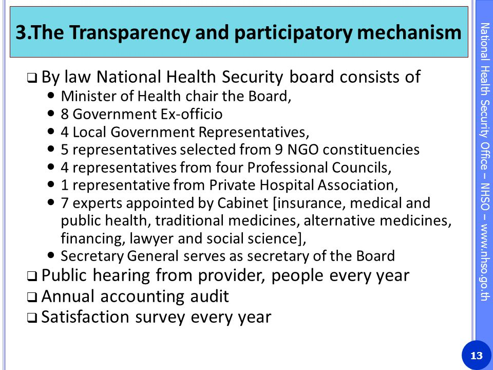 3.The Transparency and participatory mechanism