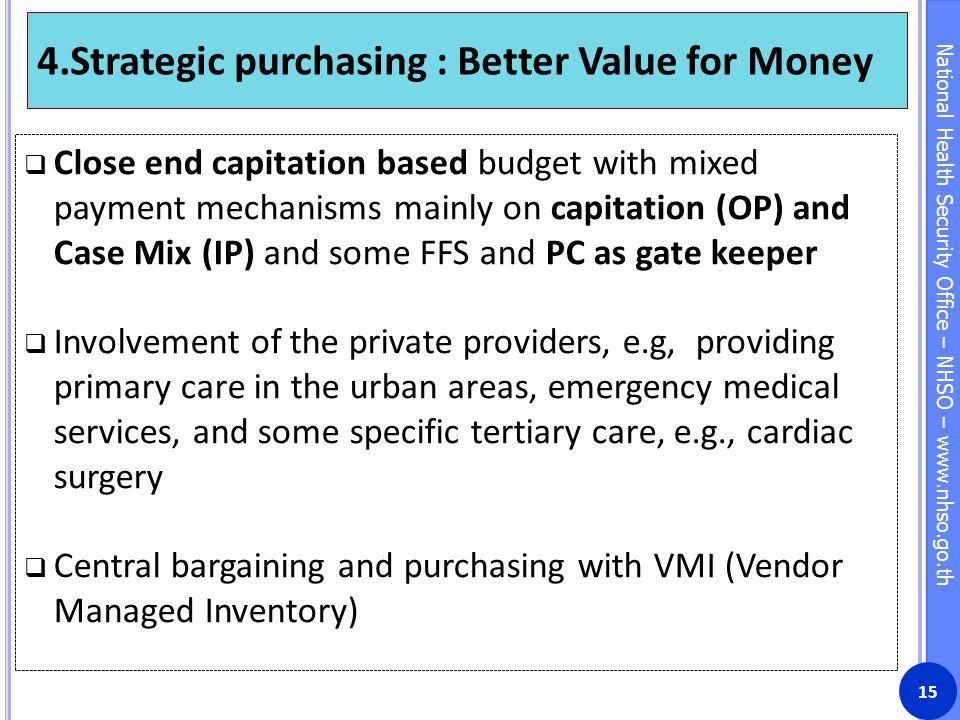 4.Strategic purchasing : Better Value for Money