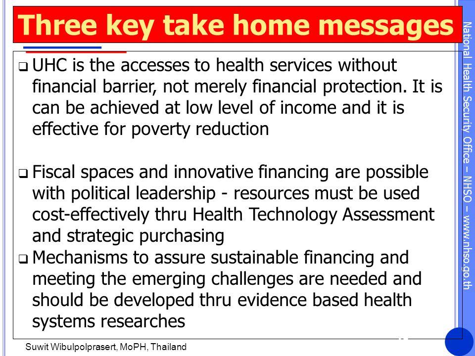 Three key take home messages