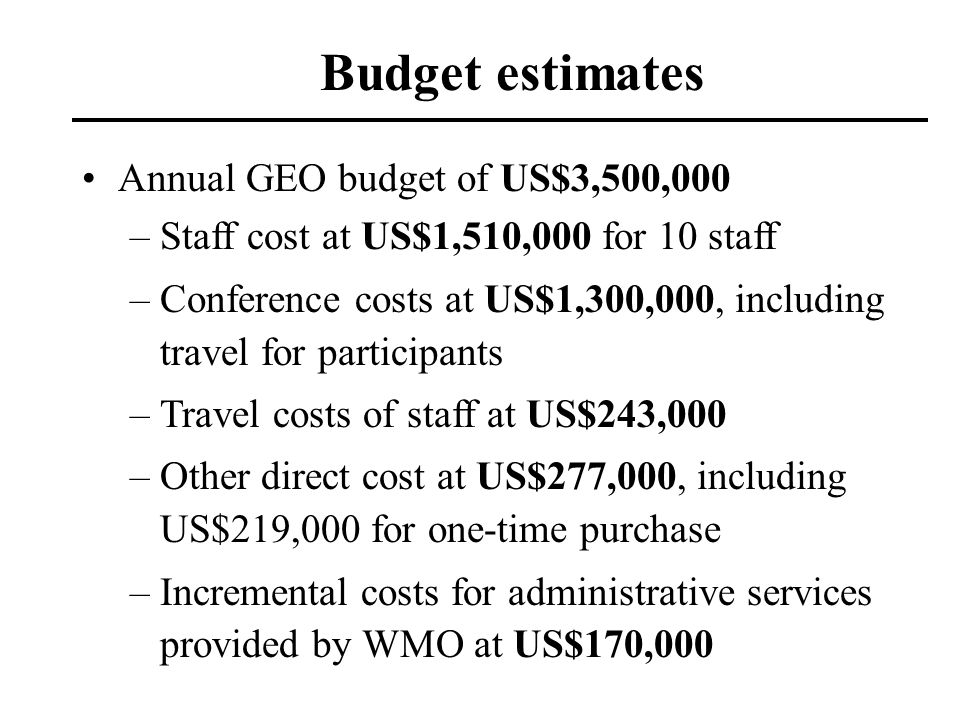 Budget estimates Annual GEO budget of US$3,500,000