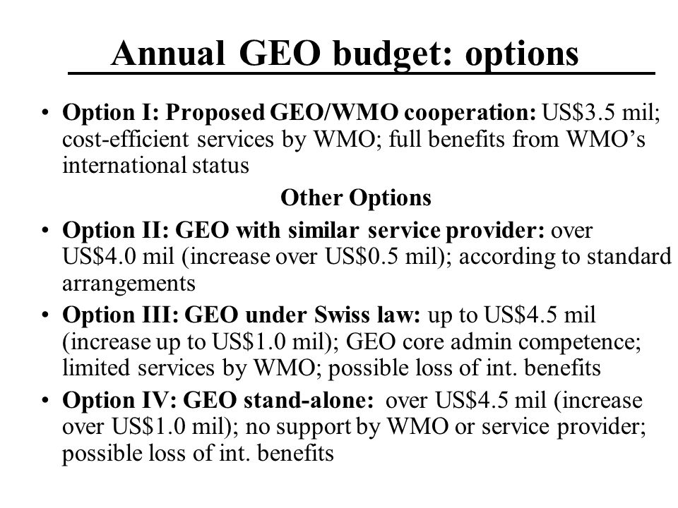 Annual GEO budget: options