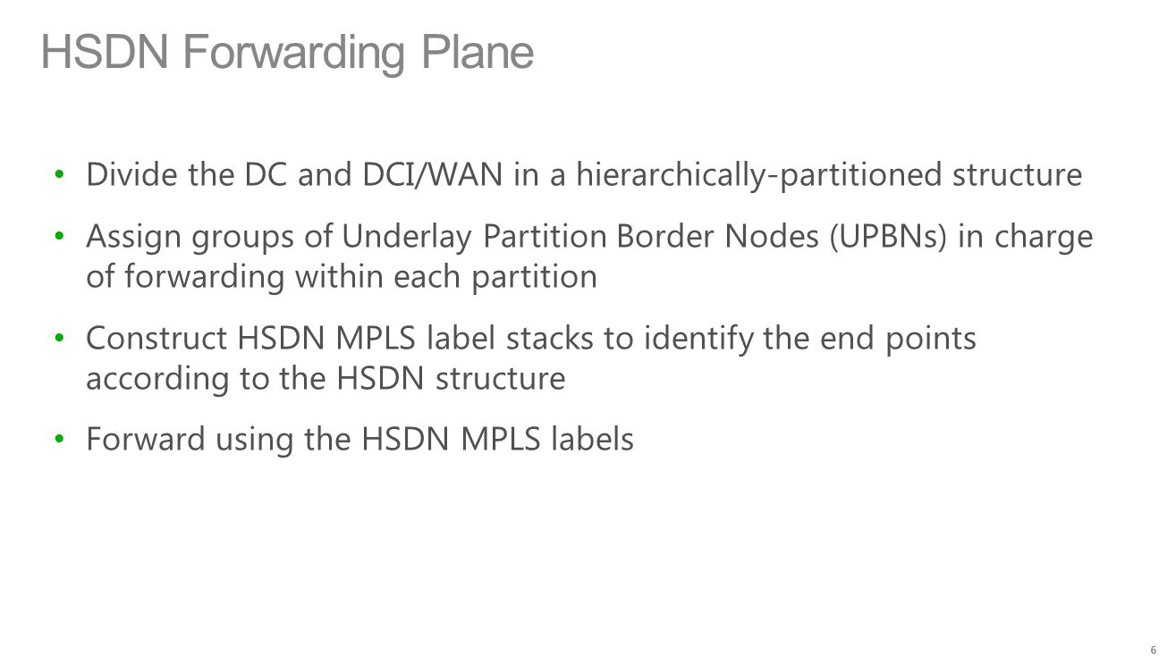 HSDN Forwarding Plane Divide the DC and DCI/WAN in a hierarchically-partitioned structure.