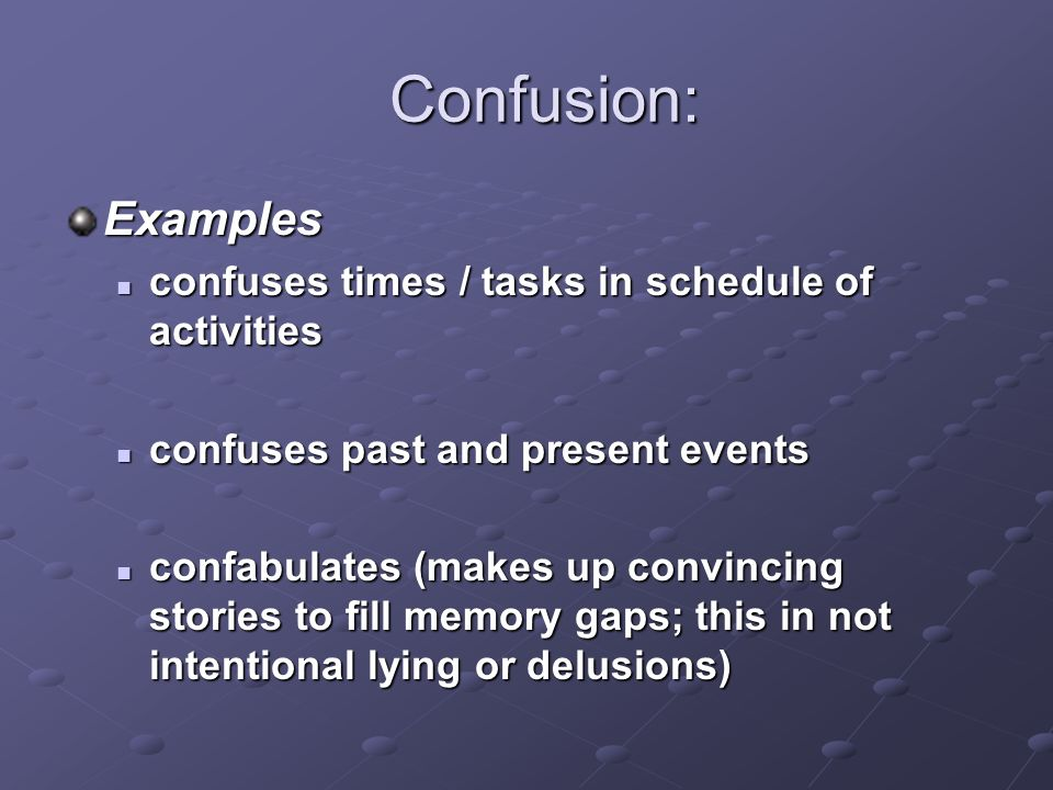 Confusion: Examples confuses times / tasks in schedule of activities