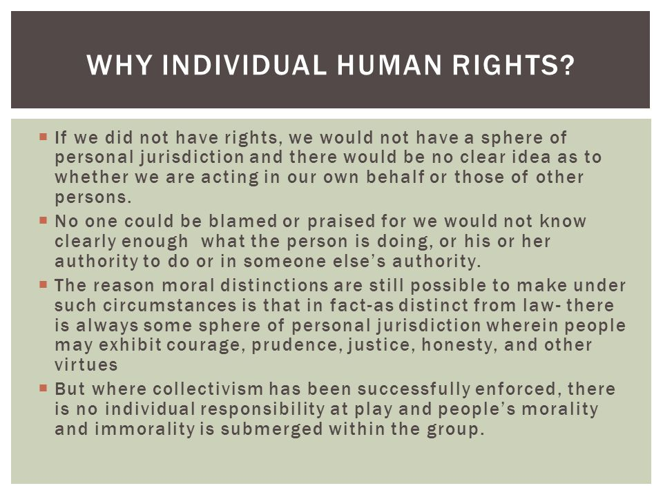 Why Individual Human Rights
