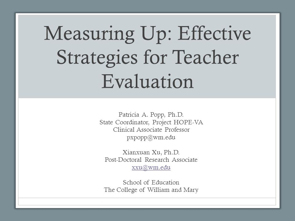 Measuring Up: Effective Strategies for Teacher Evaluation