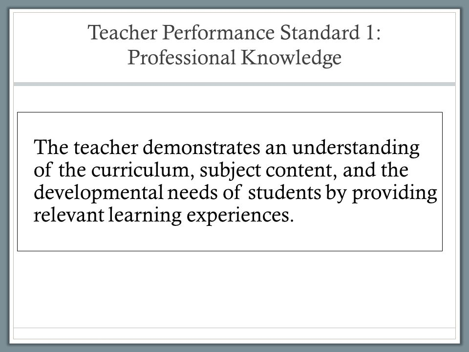 Teacher Performance Standard 1: Professional Knowledge